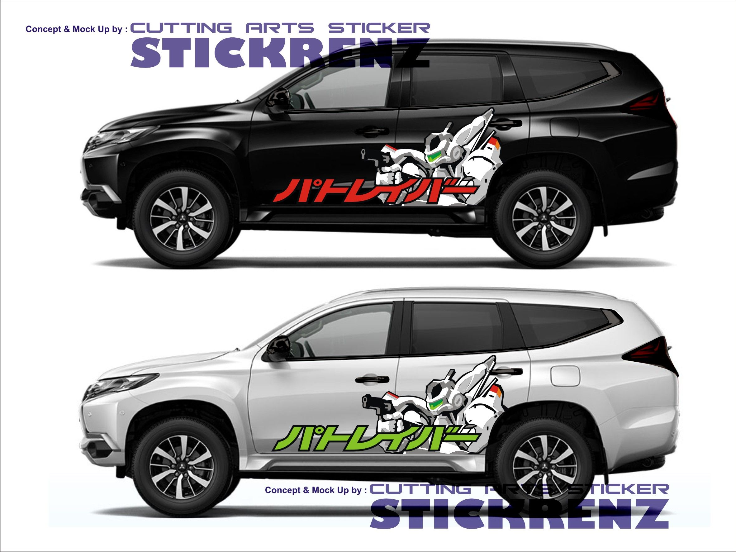 Car custom side cutting sticker concept pajero 009