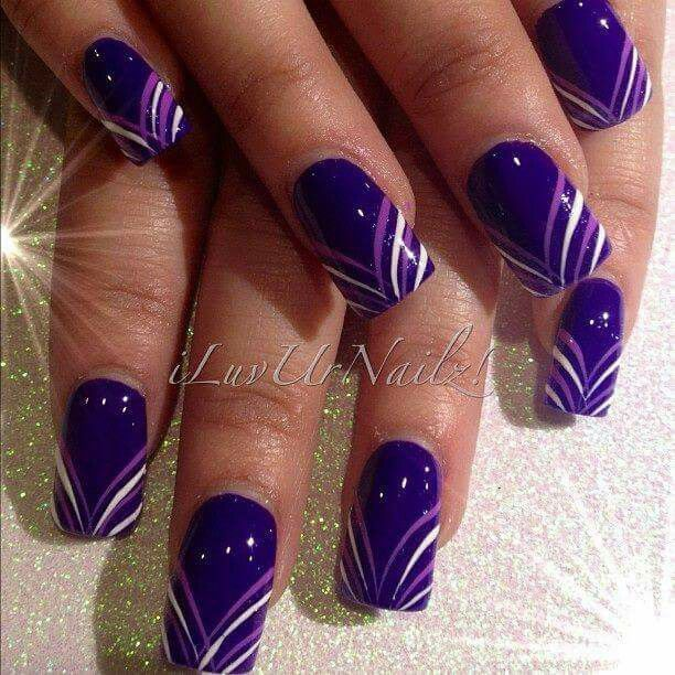purple and white stripes nail