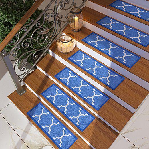 Best Set Of 7 Grey Stair Tread Rugs Modern Design Trellis 400 x 300