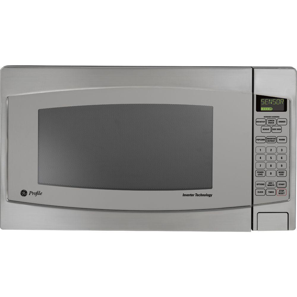 Ge Profile 2 2 Cu Ft Countertop Microwave In Stainless Steel With Defrost And Sensor Controls Jes2251sj