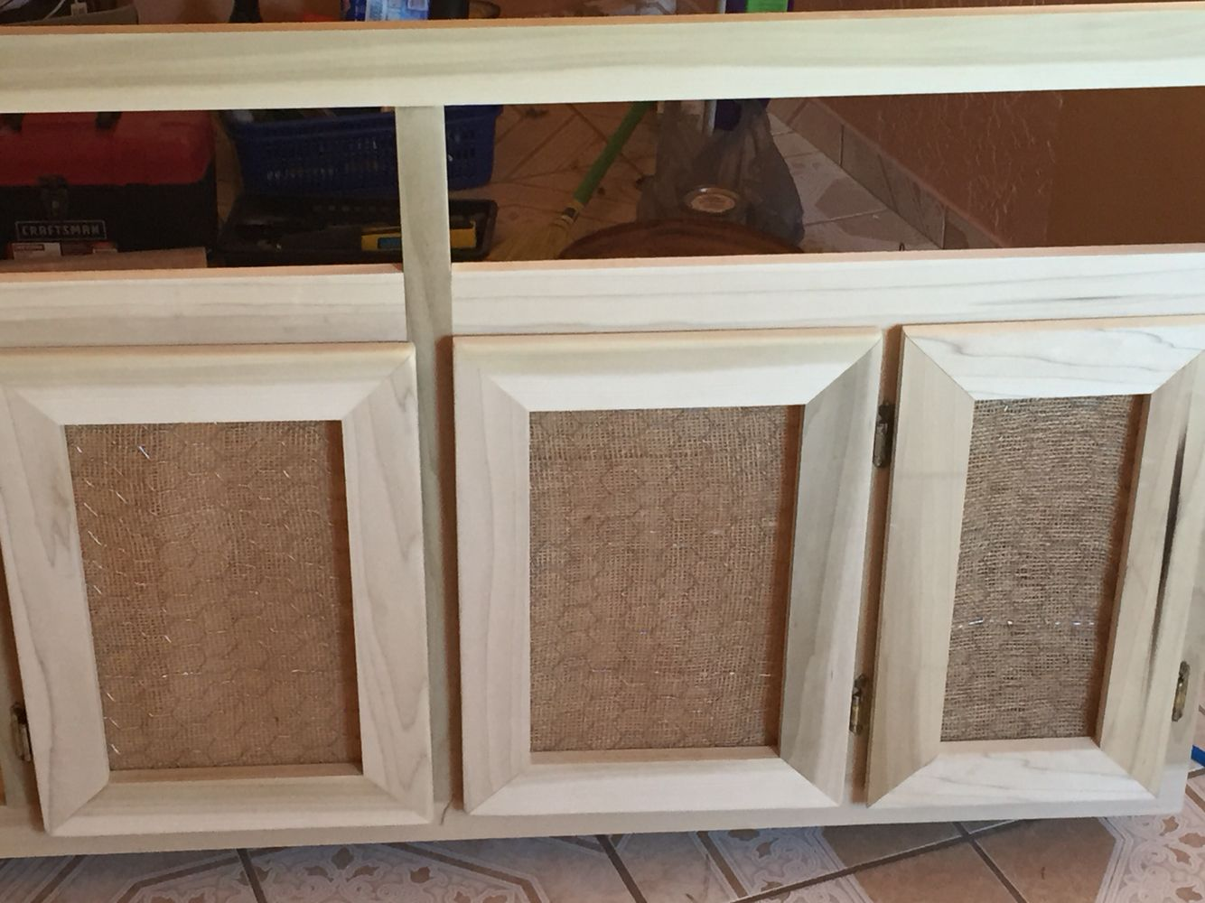 Diy cabinet door used burlap and chicken wire for a more rustic ...
