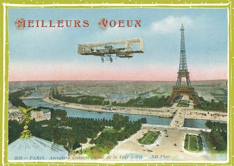 By plane Meilleurs Voeux Paris Tour Eiffel 1900