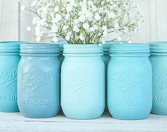 6 painted mason jars wedding centerpieces blue mason jars turquoise