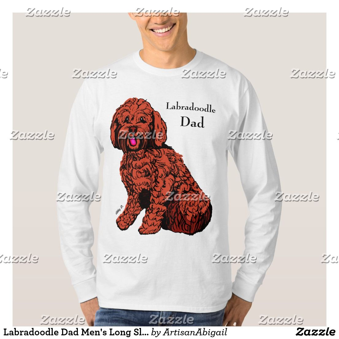 Labradoodle Dad Mens Long Sleeve T Shirt ArtisanAbigail At Zazzle