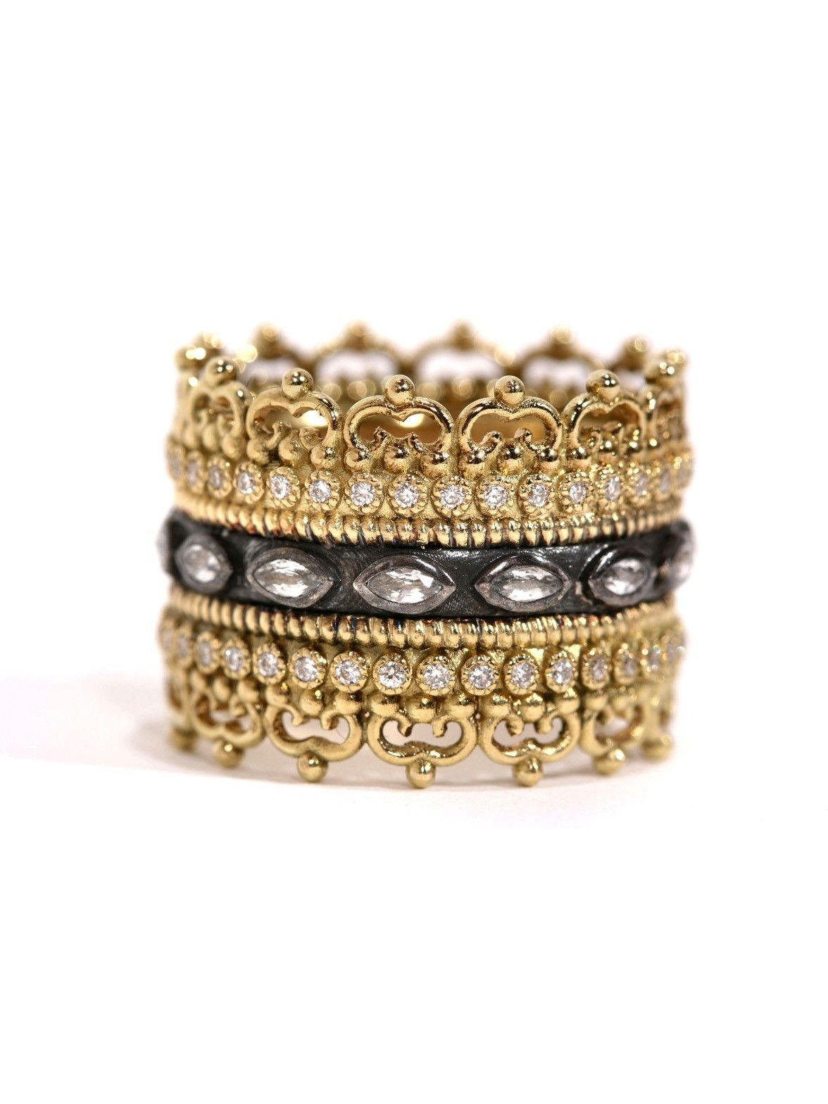 Armenta Midnight & 18k Gold Stackable Band Ring S6Uhhx