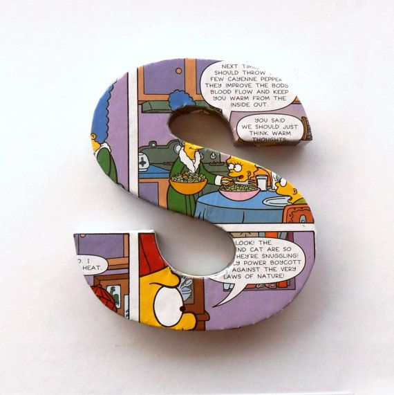 The Simpsons Comic Book Door Sign Mounted Lettering Custom
