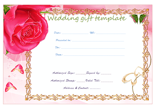 Gold Frame Wedding Gift Certificate Template