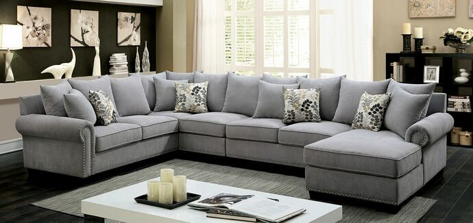 Cm6156gy 3 Pc Skyler Gray Fabric Sectional Sofa With Nail Head Trim Accents Grey Sectional Sofa Sectional Living Room Sets Living Room Sectional