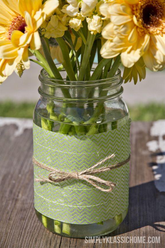 Easy Diy Washi Tape Mason Jar Vase A Spring Linky Party Announcement Christmas Mason Jars Mason Jars Mason Jar Christmas Gifts