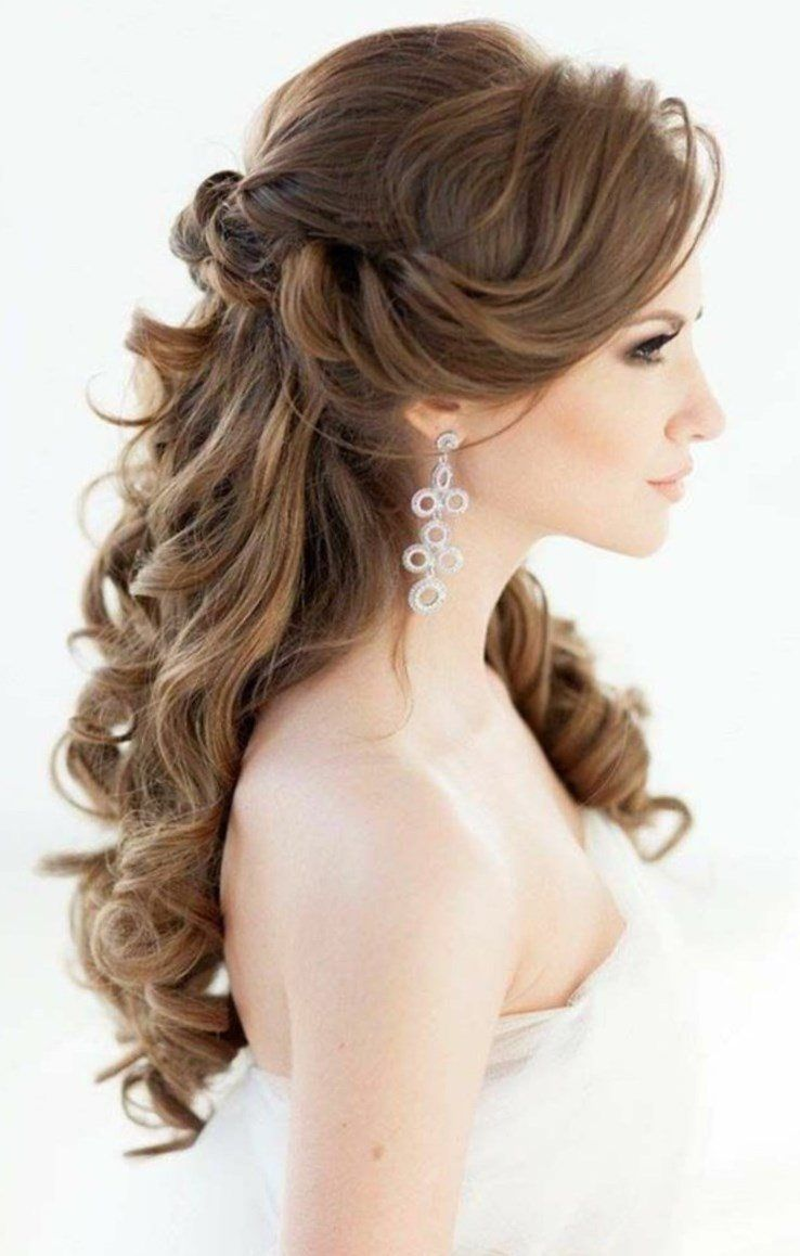 Brautfrisuren lange Haare romantische Wellen Hochzeitsfrisur halboffen Brautfrisuren seitlich