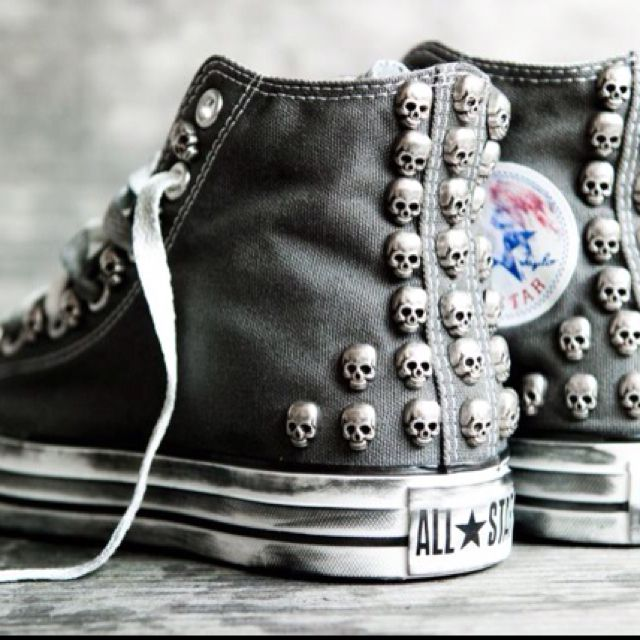 Converse All Star customised with studs and skulls 5d0f32508