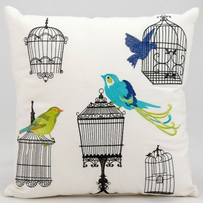 A little birdie told us this embroidered outdoor pillow is super chic!
