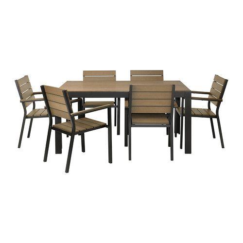 FALSTER Ulkokalustesetti (pöytä/6 nojatu) IKEA Styreenimuovista valmistetut säleet ovat säänkestävät ja helppohoitoiset.