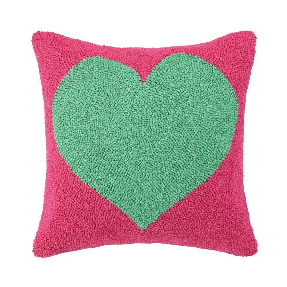 Peking Handicraft 30LFH3209 Heart Polyester-filled Hooked Pillow | ATG Stores