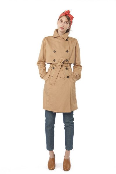 Tan Caper Trench   Women's Outerwear   In God We Trust NYC