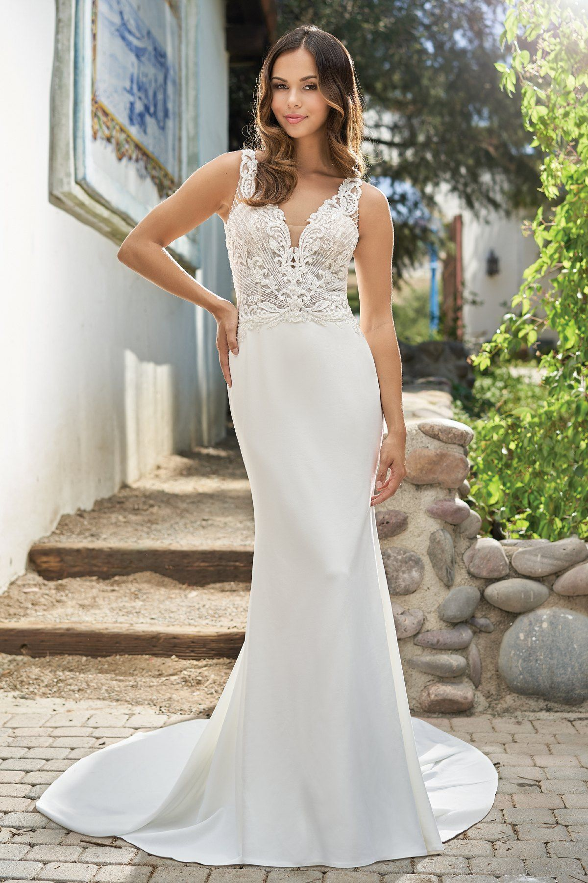 Beautiful Simple Embroidered Lace & Stretch Crepe Wedding