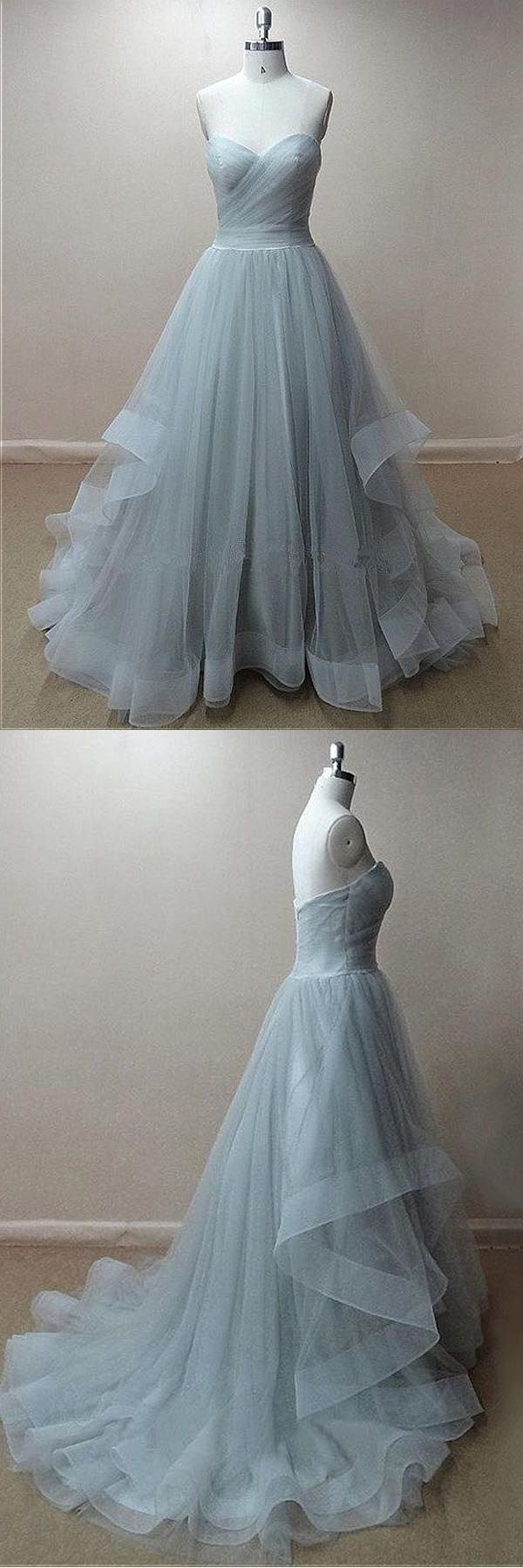 Fine prom dresses chic tulle sweetheart neckline floorlength a