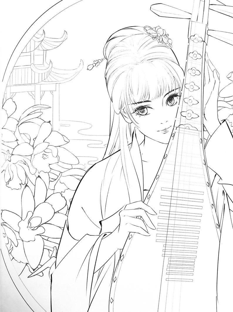 Qingpingyue Chinese Coloring Book Mỹ Thuật Y Tưởng Vẽ Anime