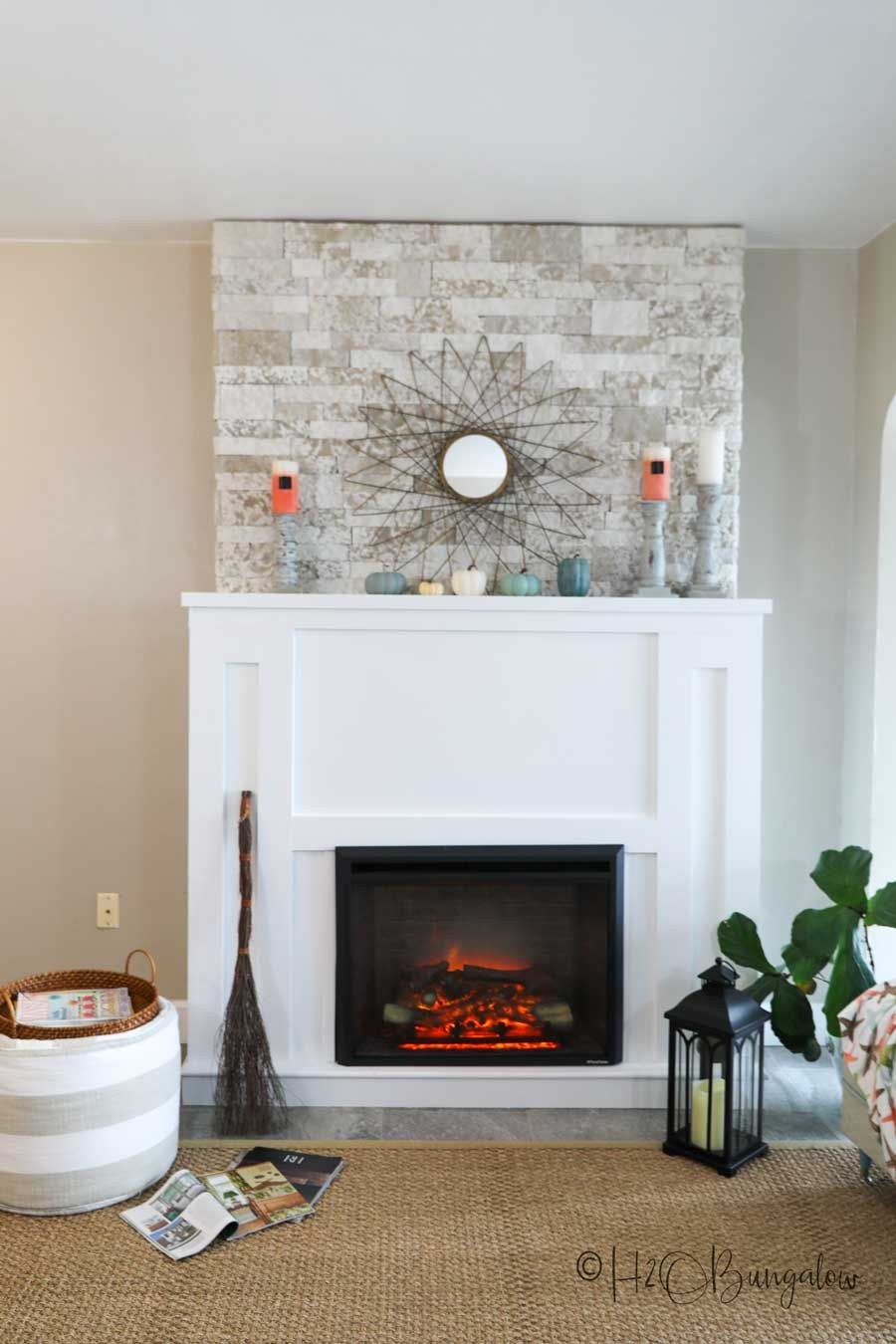 Diy Faux Stone Fireplace Chimney In 2020 Faux Stone Fireplaces