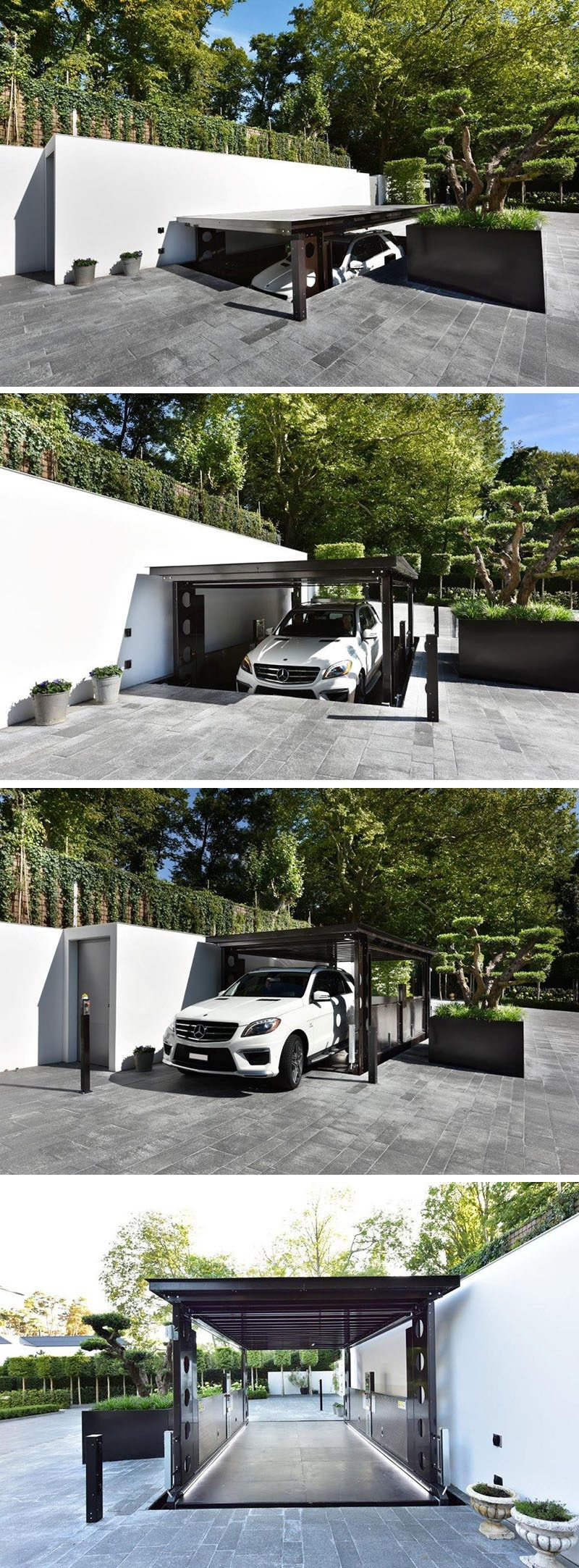 Car Lift And Garage Door This Disappearing Garage Lowers Into The Ground And Becomes
