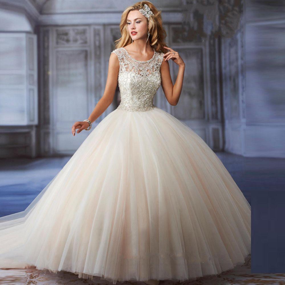 New Fashion Ball Gown Crystal Top Vintage Wedding Dress Vernassa Vestido De Casamento Bridal Shopping