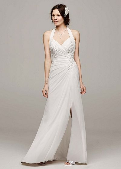 1953d2e85b9c David's Bridal Collection Chiffon Gown with High Slit and Halter Tie Back  Style WG3482 In Store & Online $399.00 $299.99