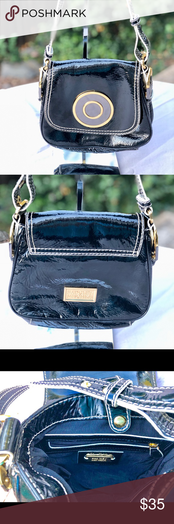 00fb8042b1a Badgley Mischka Black Patent Leather Satchel This is a beautiful black  patent leather satchel designed by