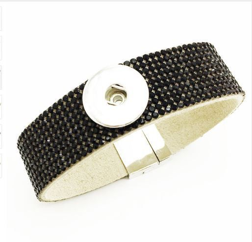Black Rhinestone Magnetic Snap Bracelet 18mm-20mm Snaps