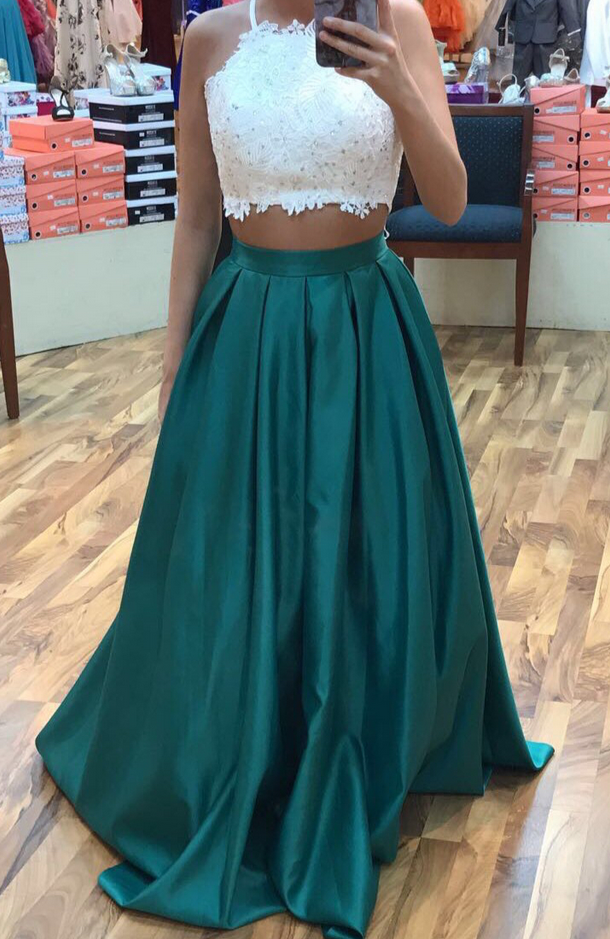 Dark Green Prom Dress, Two Piece Prom Dresses Two Pieces Party ...