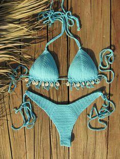 High hip crochet bikini set Aqua Blue with Cowrie Sea Shell bikini Crochet swimwear Crochet beachwear Gift for her Gift for woman