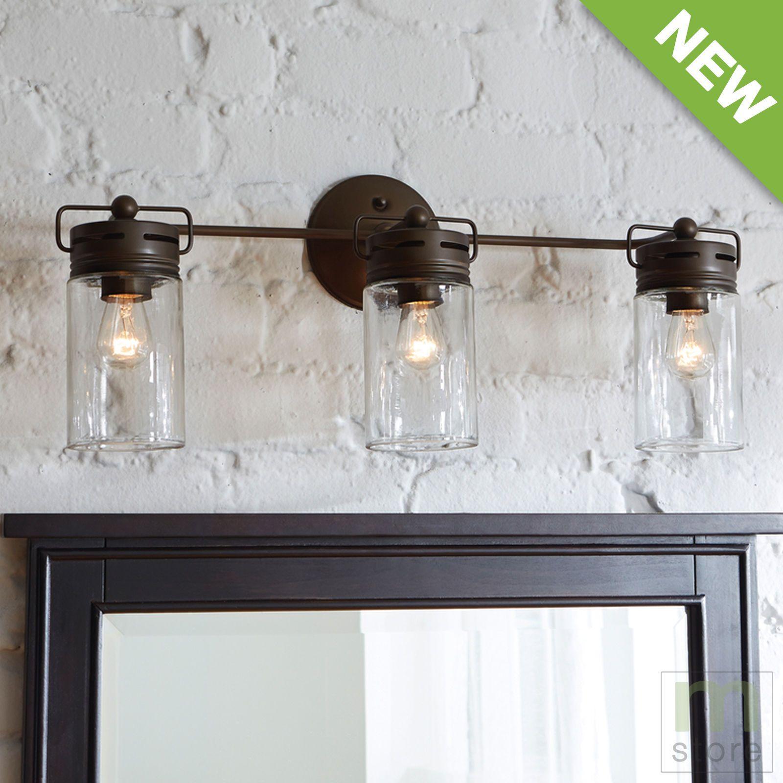 Bathroom Vanity 3 Light Fixture Aged Bronze Mason Jar Wall Lighting Allen Roth Ebay