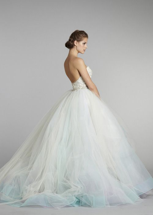 Lazaro bridal - I love the low cut back and the full tulle skirt, although I wish I could see the front.