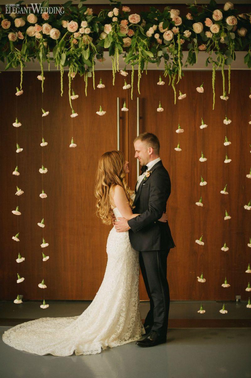 Beautiful floral arch for a wedding! Dangling florals, enchanted arch, whimsical wedding arch WHIMSICAL SUMMER WEDDING IN ONTARIO www.elegantwedding.ca