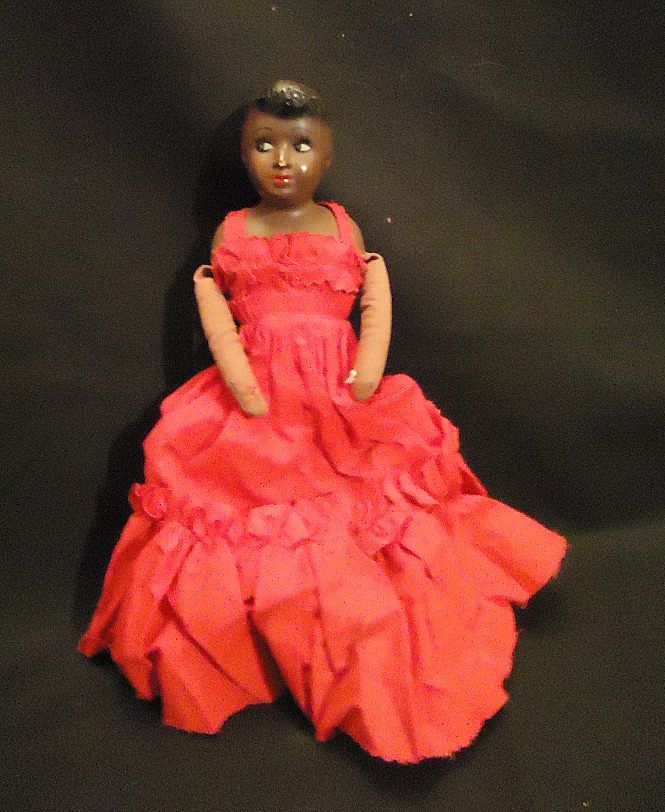 Old Unusual Black African American Doll 1930's from oldeclectics