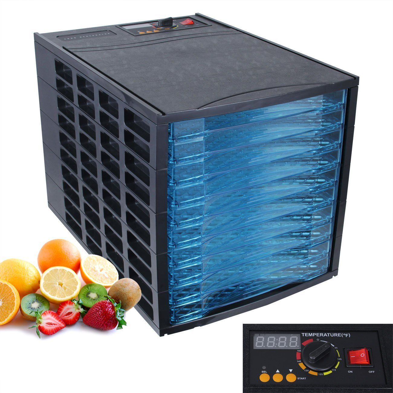 DELLA Deluxe Electric Food Dehydrator, Fruit Meat Sausage, 10-Trays ...