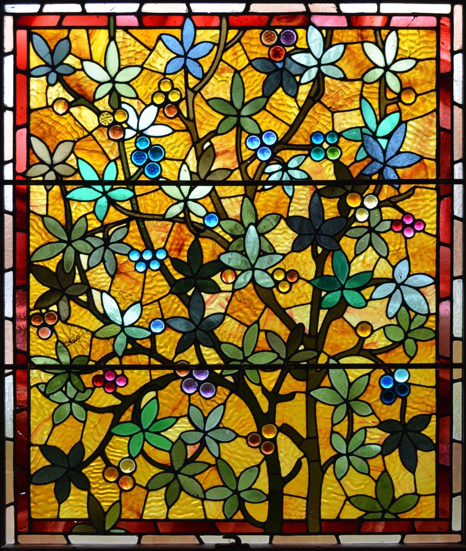 Window Film Stained Glass Flowers Yellow Red