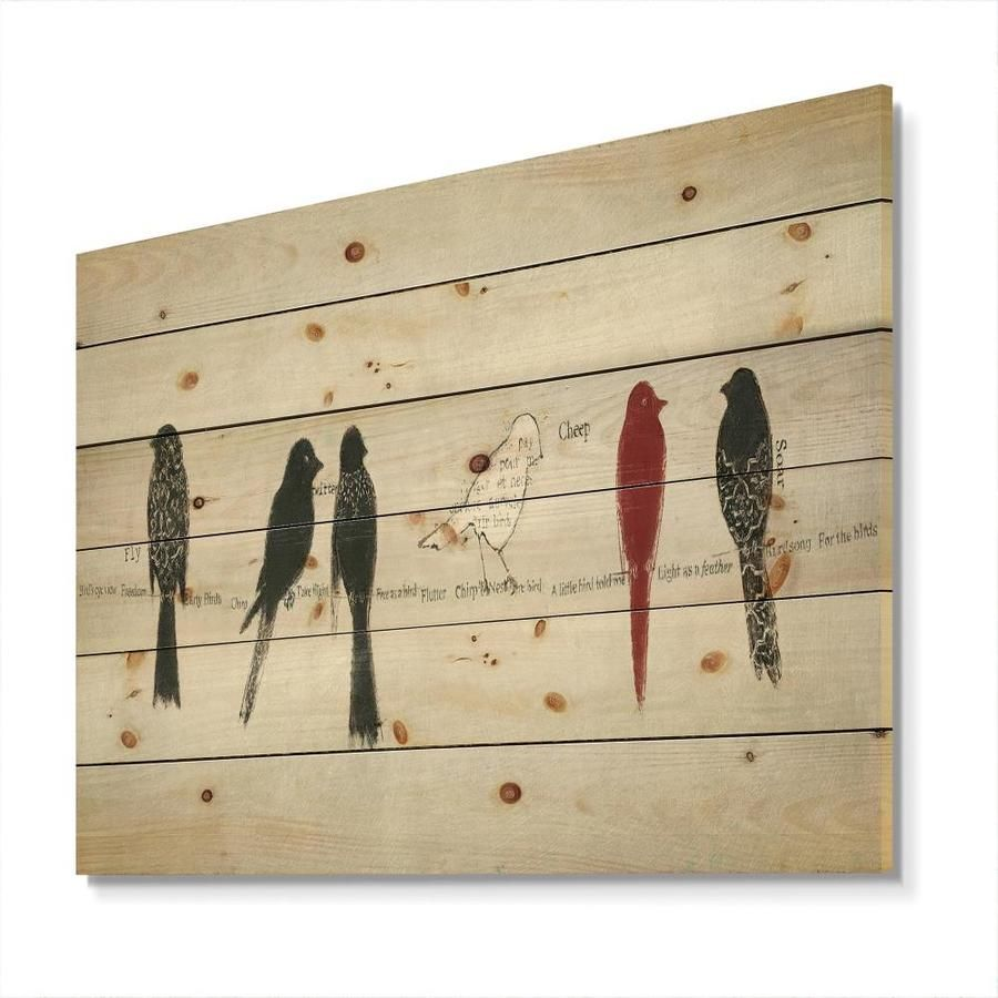 Designart 'Red Catching Up Bird Family' Print on Natural Pine Wood Designart Designart 'Red Catching Up Bird Family' Print on Natural Pine Wood in Black   WD31174-20-12