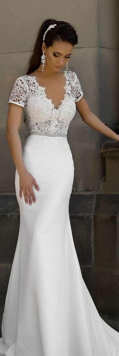 Short sleeve lace v back mermaid wedding dress sexy party for Short fitted wedding dresses