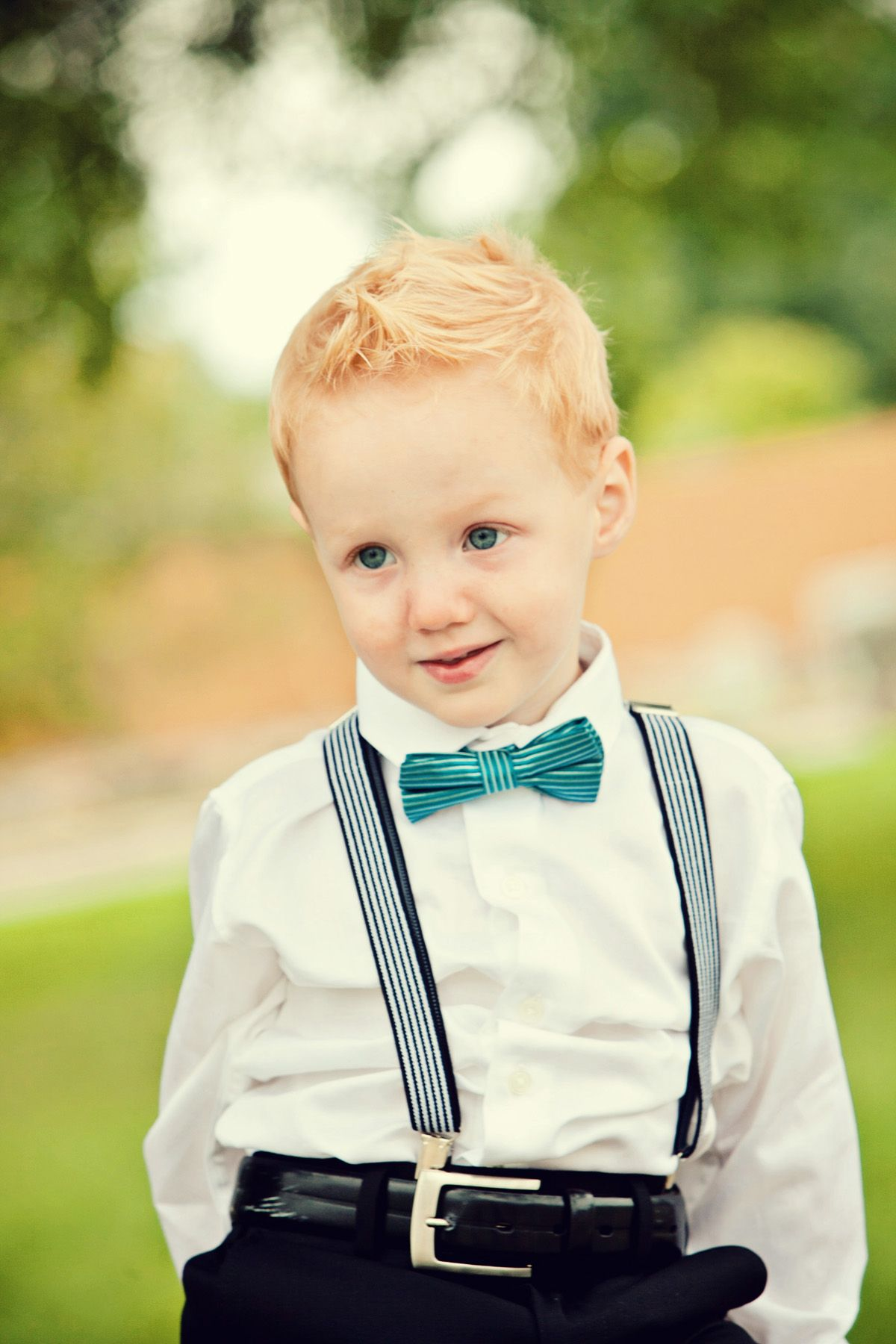 Cute little boy in his bowtie outfit!! Bowtie and Suspenders such a cute idea.