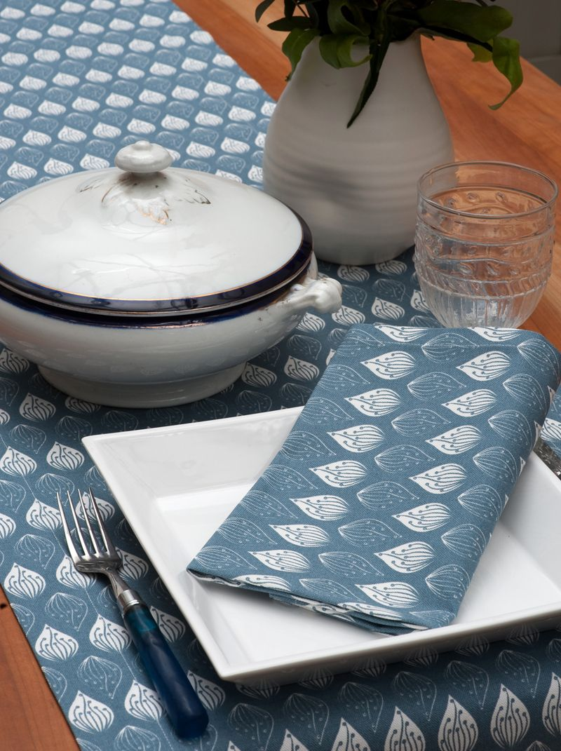 Ochre & Ocre Organic Cotton Napkins - Isabella: Isabella Blue