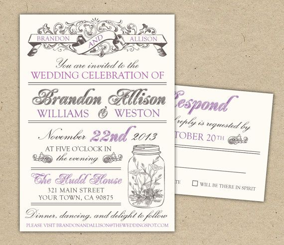 Vintage Wedding Invitation DIY printable template modern, mason