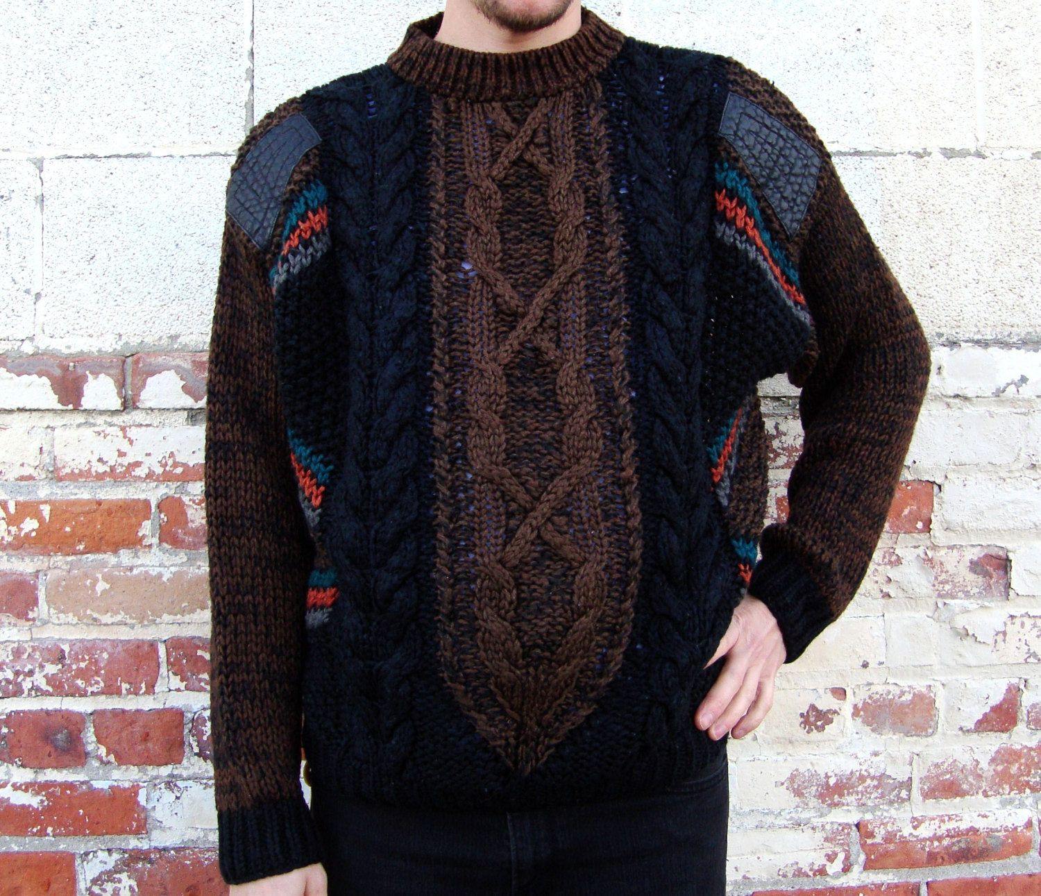 1980s Leather Patch Cable Knit Sweater Large Geometric Shapes ...