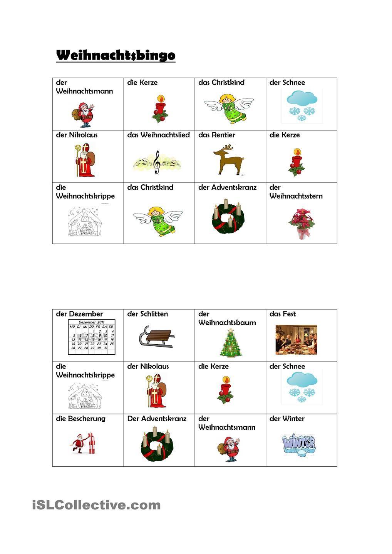 Weihnachtsbingo | Weihnachtsbingo, Deutsch und Weihnachtspartys