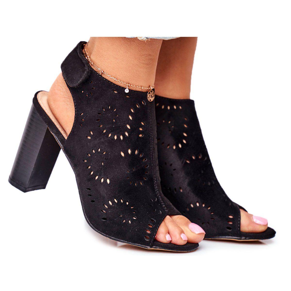 Eve Sandaly Damskie Na Slupku Azurowe Na Rzep Czarne Rules Heeled Mules Heels Shoes