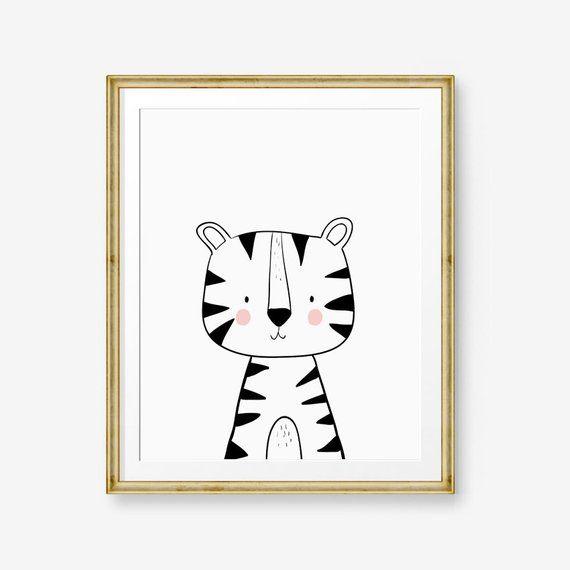 Tiger Printable Nursery Wall Art Tiger Nursery print Tiger Print Modern nursery Tiger Kids Jungle Zoo Baby room Black white PRINTABLE 0039