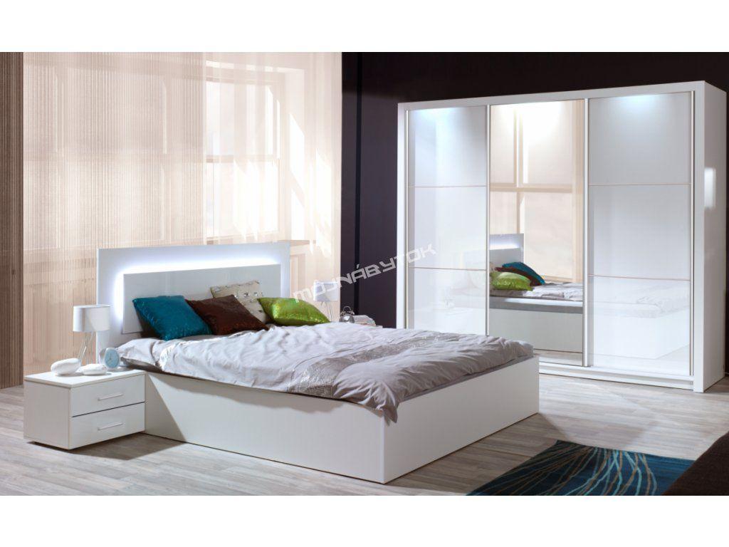 Elegantná spálňa SIENA v obľúbenom farebnom prevedení biela / biely vysoký lesk.