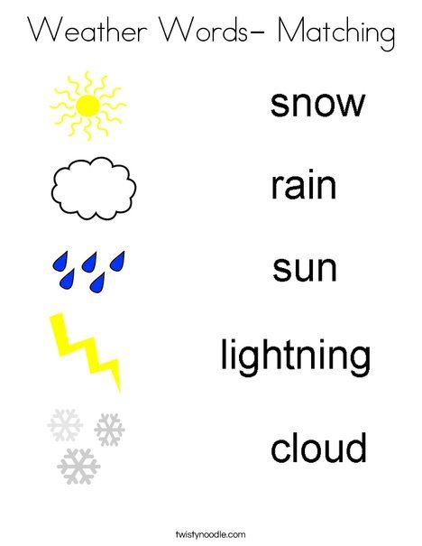 Weather Words- Matching Coloring Page - Twisty Noodle | Weather ...