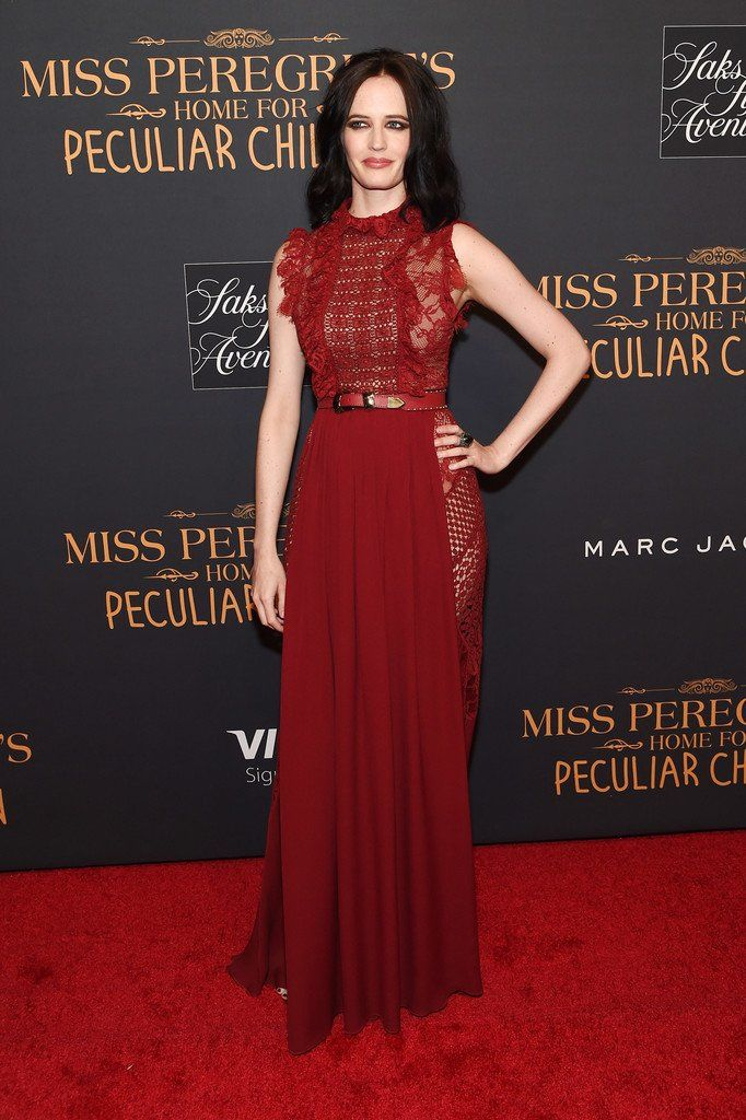 Eva Green wore a red #ElieSaab Fall 2016 lace + ruffle gown to the @PeregrinesMovie #HomeforPeculiarChildren NYC premiere. The Fashion Court (@TheFashionCourt) | Twitter