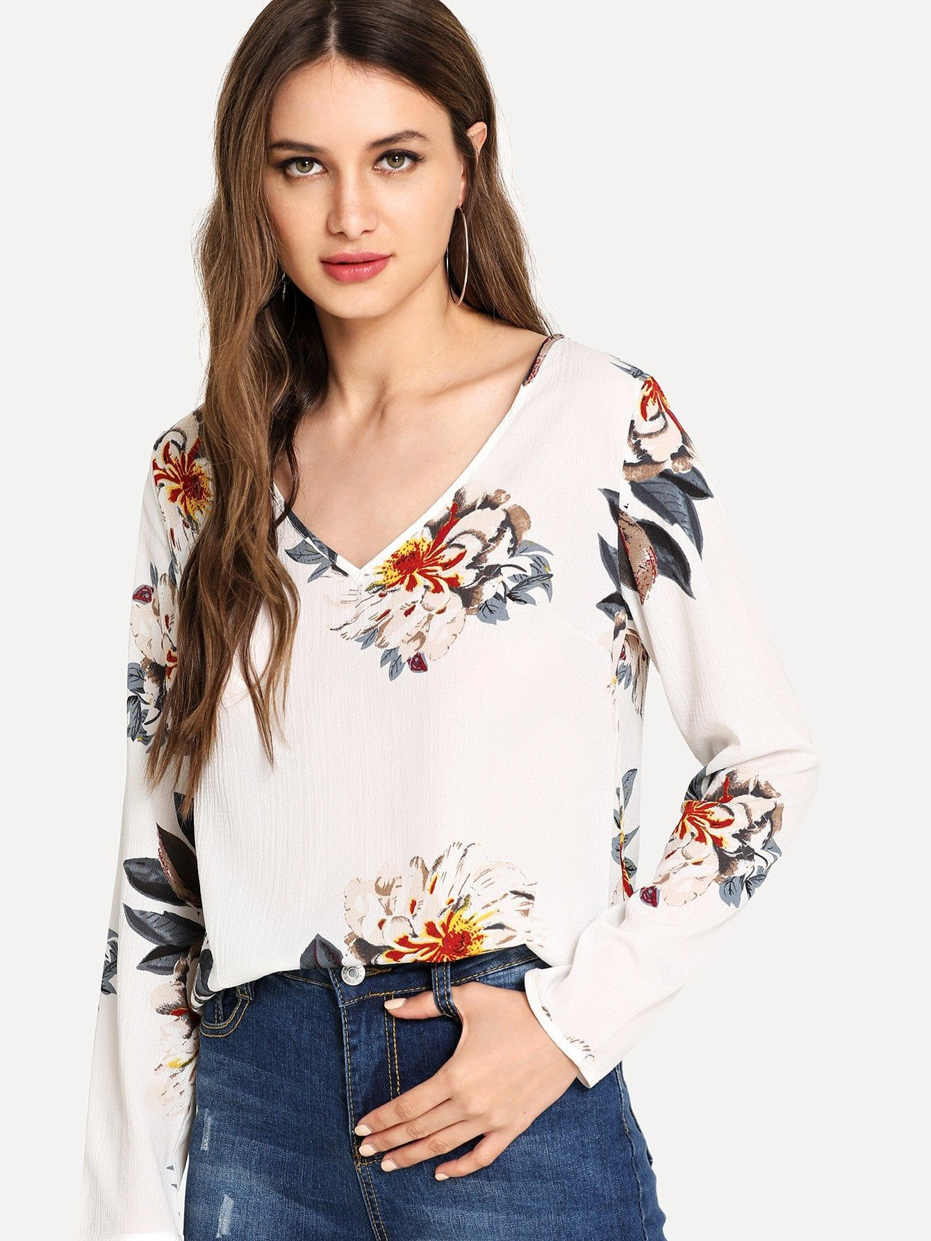 723c3faf54d8 Contrast Binding Roll Tab Sleeve Top in 2019 | Shein Fashion Style | Roll  up sleeves, Tops, Sleeves