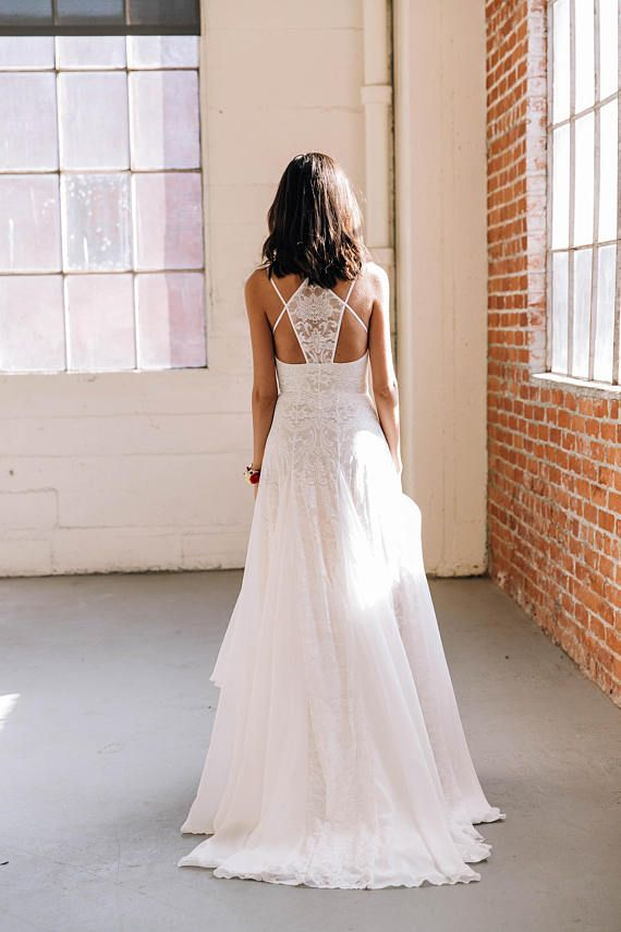 Scalloped Lace Double Strap Racerback Wedding Dress, Boho Wedding ...